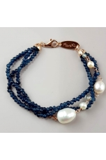 Bracciale agata blu zaffiro, perle coltivate, acquamarina