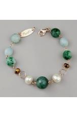 Bracciale Acquamarina, agata striata verde, perle