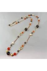 Chanel agata arancione, quarzo fumè, perle coltivate