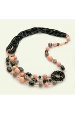Collier diaspro grigio sfumato, agata nera, bamboo rosa