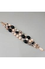 Bracciale agata nera,  Diaspro grigio, Bamboo rosa