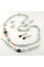 Parure Giada Celeste, perle coltivate