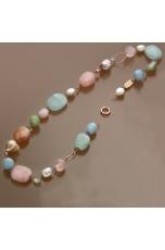 Collana Acquamarina multicolor, Perle coltivate