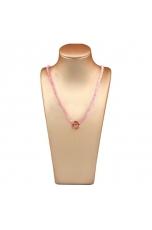 Collier quarzo rosa taglio diamond