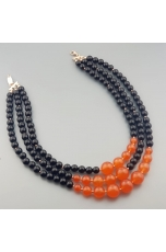 Collier a tre fili agata  nera, agata arancione
