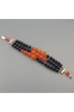 Bracciale a tre fili agata nera, agata arancione