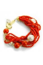 Br corallo bamboo rosso, perle barocche