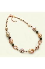 Collier perle barocche rosa, quarzo fumè
