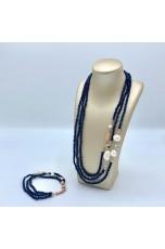 Collier agata blu zaffiro, perle coltivate, acquamarina