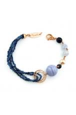 Bracciale agata blu zaffiro diamond, calcedonio, perle coltivate