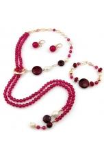 Parure agata ruby, perle coltivate, giada rosa