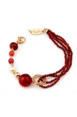 Bracciale agata ruby diamond, giada rosa, perle coltivate