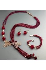 Parure agata ruby, perle coltivate