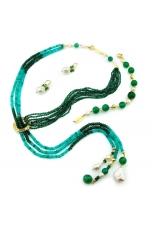 Parure agata verde smeraldo, crisopaz, perle coltivate