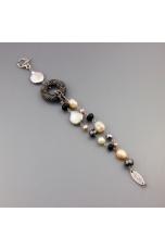 Bracciale ematite, perle coltivate, agata nera