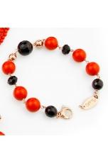 Bracciale agata nera, corallo bamboo rosso