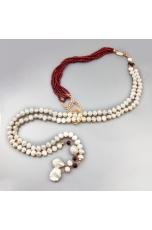 Sciarpetta perle coltivate, granato diamond