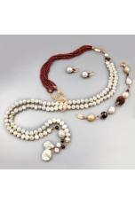 Parure perle coltivate, granato  taglio diamond