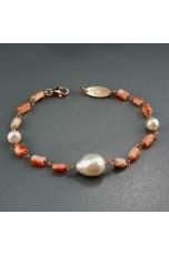 br corallo rosa, perle coltivate