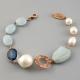 Bracciale acquamarina,  perle coltivate barocche