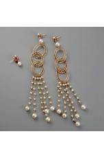 Orecchini trittico  perle coltivate lunghezza 15 cm