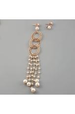 Orecchini mono- filigrana arg.e perle coltivate lunghezza 15 cm