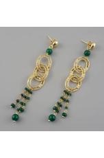 Orecchini filigrana,  agata verde smeraldo,  lunghezza 10 cm