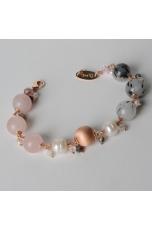 Bracciale charms, quarzo rutilato grigio, quarzo rosa,perle di fiume