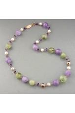 Girocollo ametista,   perle coltivate, quarzo rutilato verde