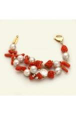 Br corallo rosso, perle di fiume, pz unico