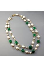 Girocollo, perle coltivate,  agata verde, peridot, citrino