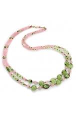 Chanel a due fili quarzo rosa e quarzo rutilato verde