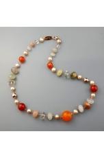 Collier quarzo multicolor, corniola, perle coltivate