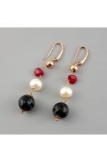Orecchini, quarzo rutilato grigio, Perle coltivate  agata ruby