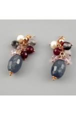 Orecchini, quarzo rutilato grigio,  perle coltivate, Agata ruby