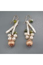 Orecchini agata fire, perle coltivate