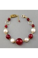 Bracciale agata ruby, perle coltivate