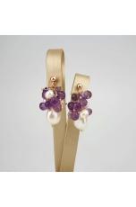 Orecchini perle coltivate, ametista