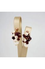 Orecchini perle coltivate,granato taglio diamond