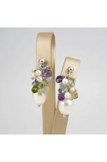 Orecchini perle coltivate quarzi taglio diamond