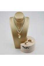 Parure acquamarina taglio diamond, perle coltivate, quarzi multicolor
