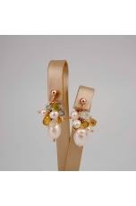 Orecchini perle coltivate, quarzi  taglio macchina