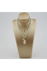 Collier acquamarina, quarzi  multicolor perle coltivate