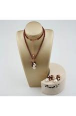 Parure granato taglio diamond, perle coltivate