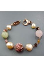 Bracciale tormaline, quarzo rosa,  quarzo rutilato verde, perle coltivate