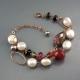 Bracciale Perle coltivate,  tormaline, agata ruby