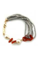Br ematite argento, corallo, perle di fiume