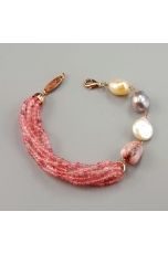 Bracciale, opale rosa, quarzo  fragola, perle coltivate