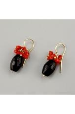 Orecchini agata nera, corallo rosso sardo