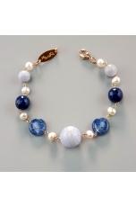 Bracciale calcedonio, agata blu,  perle coltivate